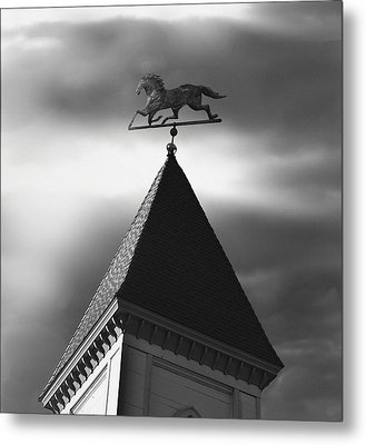 Black Stallion Weathervane Metal Print by Larry Butterworth