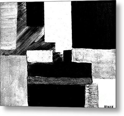 Black White Gray Abstract Metal Print by Marsha Heiken
