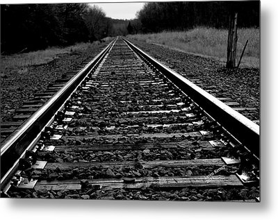 Metal Print featuring the photograph Black White Tracks by Karen Kersey