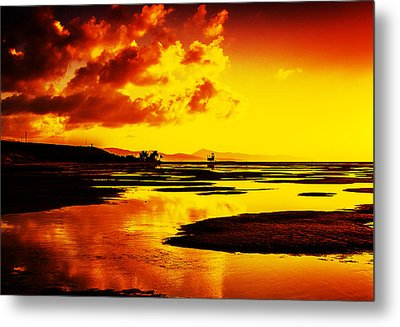Black Yellow And Orange Sunrise Abstract Metal Print