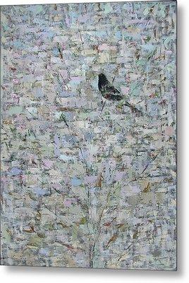 Blackbird In Tree, 2012, Oil On Canvas Metal Print by Ruth Addinall