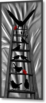 Blackbird Ladder Metal Print by Barbara St Jean