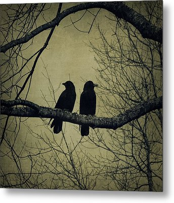 Blackbirds On A Branch Metal Print by Patricia Strand