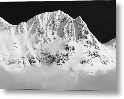 Blackcomb Above The Clouds In Black And White Metal Print