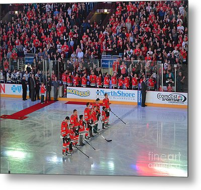 Metal Print featuring the photograph Blackhawks Fight Cancer by Melissa Goodrich