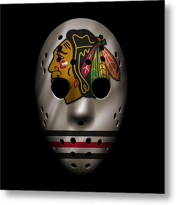 Blackhawks Jersey Mask Metal Print