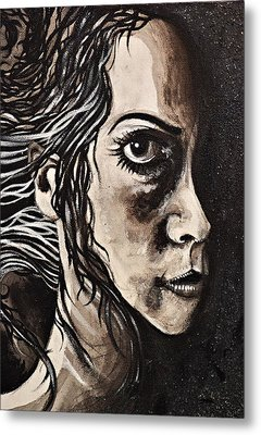 Metal Print featuring the painting Blackportrait 8 by Sandro Ramani