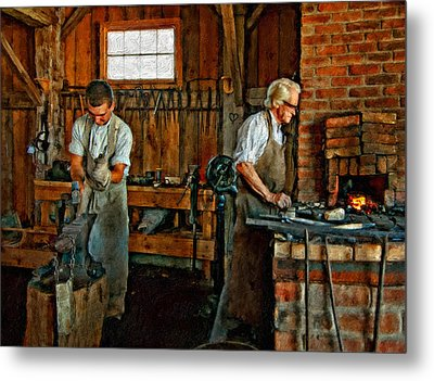 Blacksmith And Apprentice Impasto Metal Print by Steve Harrington