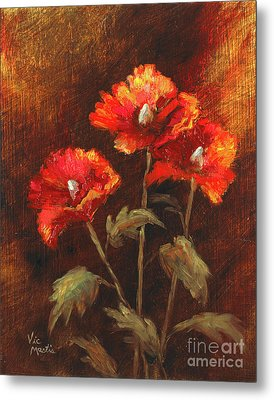 Metal Print featuring the painting Blazing Poppies by Vic  Mastis