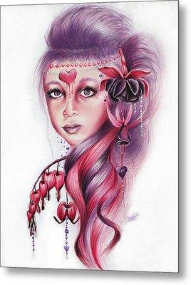 Metal Print featuring the drawing Bleeding Heart by Sheena Pike