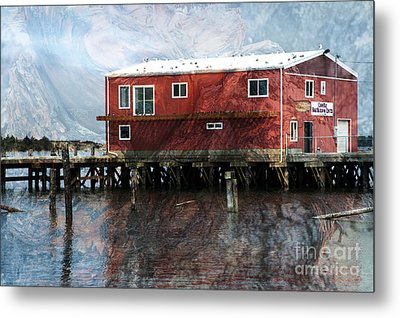 Blended Oregon Dock And Structure Metal Print by Ron Hoggard