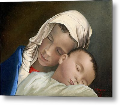 Baby Jesus And Blessed Mother Mary And Jesus Metal Print