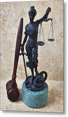Blind Justice Statue With Gavel Metal Print