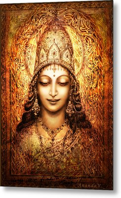 Metal Print featuring the mixed media Blissful Goddess by Ananda Vdovic