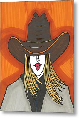 Blonde Cowgirl Metal Print