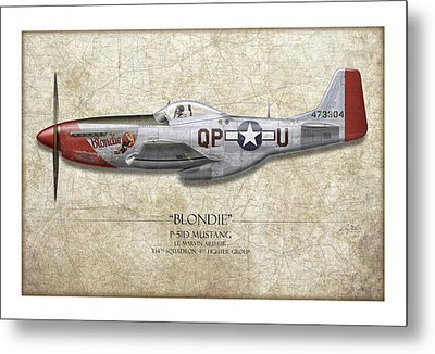 Blondie P-51d Mustang - Map Background Metal Print