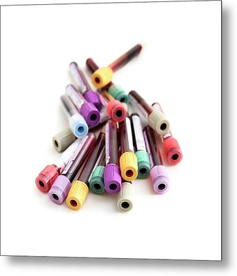 Blood Collection Tubes Metal Print by Science Photo Library