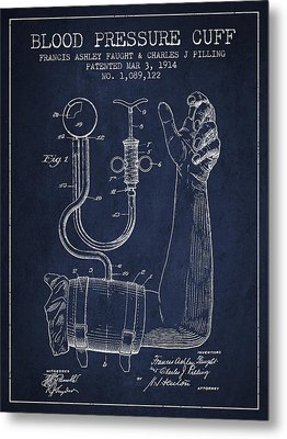 Blood Pressure Cuff Patent From 1914 Metal Print by Aged Pixel