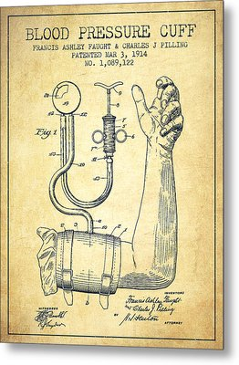 Blood Pressure Cuff Patent From 1914 -vintage Metal Print by Aged Pixel