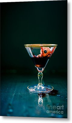 Bloody Eyeball In Martini Glass Metal Print by Edward Fielding