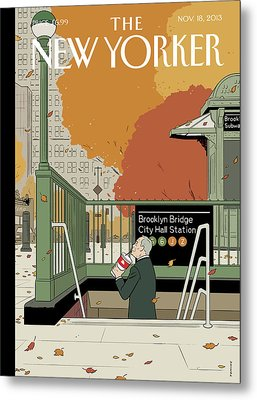 Bloomberg Drinks A Soda As He Prepares To Leave Metal Print by Adrian Tomine
