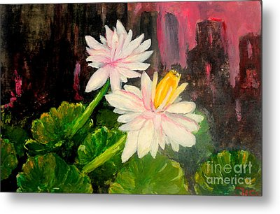 Metal Print featuring the painting Blooming At Night  by Jason Sentuf