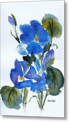 Metal Print featuring the painting Blooming Blue by Anne Duke