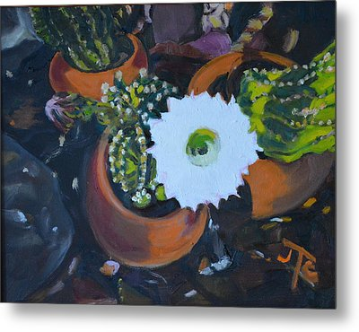 Metal Print featuring the painting Blooming Cacti by Julie Todd-Cundiff