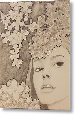 Blooming Girl Lilac  Refined Metal Print