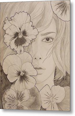 Blooming Girl Pansy Refined Metal Print