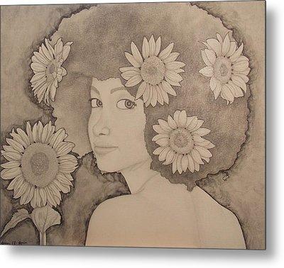 Blooming Girl Sunflower Refined Metal Print