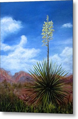 Metal Print featuring the painting Blooming Yucca by Roseann Gilmore