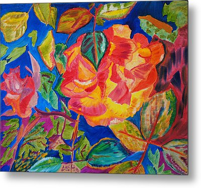 Metal Print featuring the painting Blossoms Aglow by Meryl Goudey