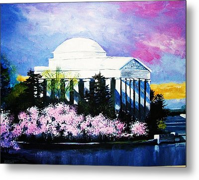 Blossoms At The Jefferson Memorial Metal Print by Al Brown