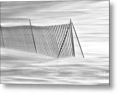 Blowing Snow At Snow Fence  Metal Print by Dan Friend