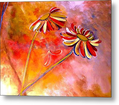 Metal Print featuring the painting Blown Backward Fall Floral by Lisa Kaiser