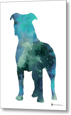 Blue Abstract Pitbull Silhouette Metal Print by Joanna Szmerdt