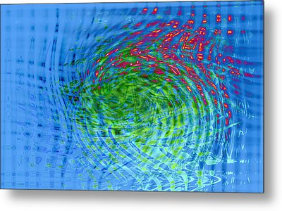 Blue Abstract Reflections And Algae Metal Print by Frank Tschakert