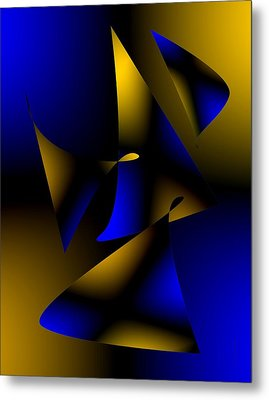 Blue And Brown Abstract Design Metal Print by Mario Perez