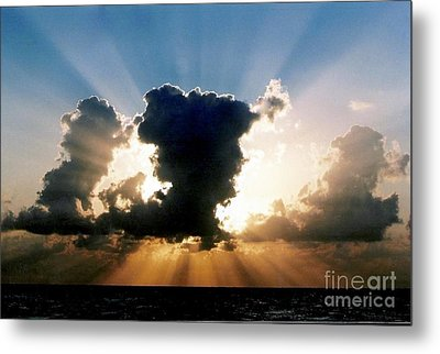Metal Print featuring the photograph Blue And Gold Rays Sunset In The Gulf Of Mexico Off The Coast Of Louisiana by Michael Hoard
