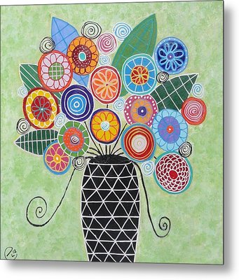 Blue And Green Flowers Metal Print