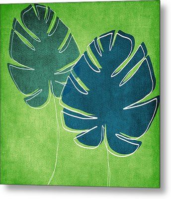 Blue And Green Palm Leaves Metal Print by Linda Woods