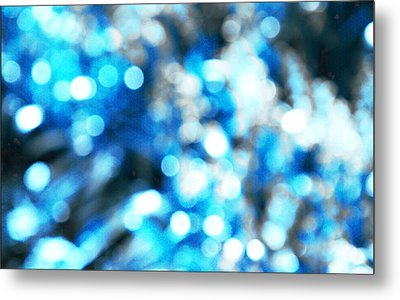 Metal Print featuring the digital art Blue And White Bokeh by Fine Art By Andrew David