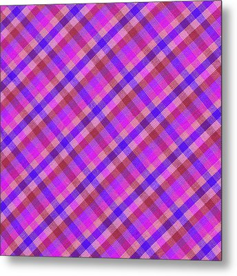 Blue And Pink Plaid Design Fabric Background Metal Print