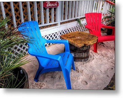 Metal Print featuring the digital art Blue And Red Chairs by Michael Thomas