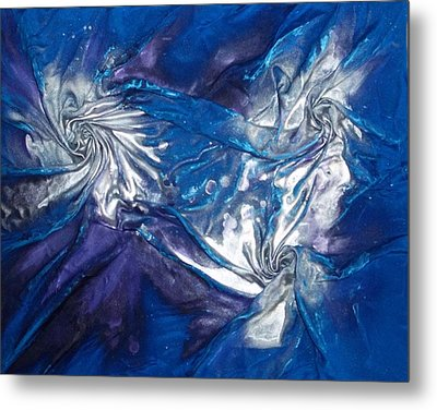 Blue And Silver Twin 2 Metal Print by Angela Stout