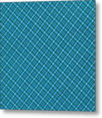 Blue And Teal Diagonal Plaid Pattern Textile Background Metal Print
