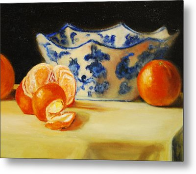 Blue And White Bowl And Tangerines Metal Print by Ann Simons