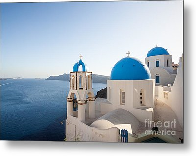 Blue And White Churches In Santorini Greece Metal Print by Matteo Colombo