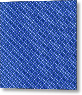 Blue And White Diagonal Plaid Pattern Cloth Background Metal Print